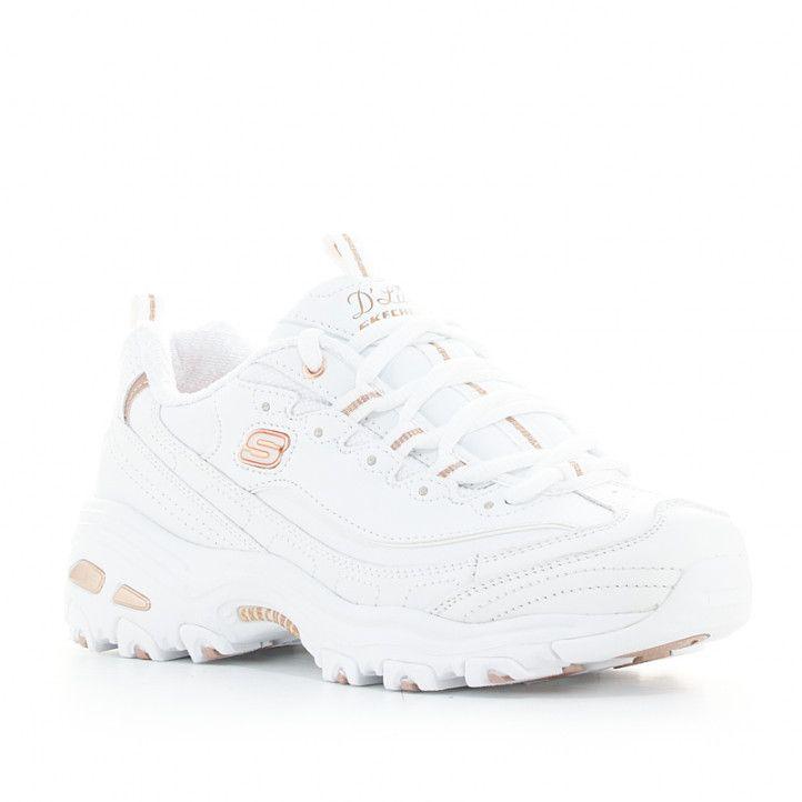 Zapatillas deportivas Skechers blancas con detalles dorados y plantillas memory foam - Querol online