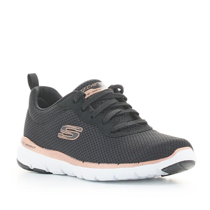 Zapatillas deportivas Skechers negras con cordones y plantilla memory foam - Querol online