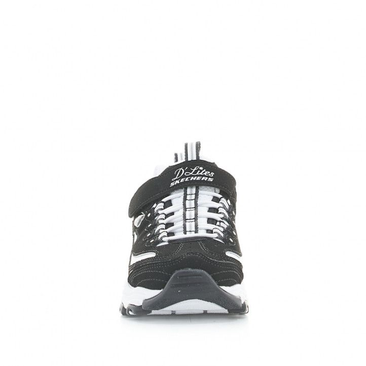 Zapatillas deporte Skechers negras y blancas d'lites crowd appeal con cordones y velcro - Querol online