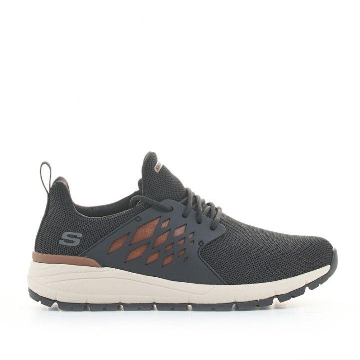 Zapatillas deportivas Skechers negras con detalles marrones relaxed fit - Querol online
