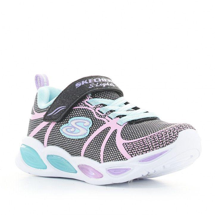 Zapatillas deporte Skechers negras, azules y lilas shimmer beams sporty glow con luces - Querol online
