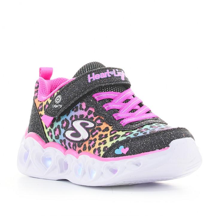 Zapatillas deporte Skechers animal print multicolor heart lights-love match - Querol online