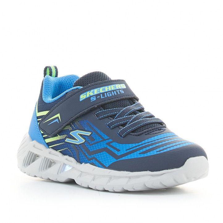 Zapatillas deporte Skechers azules magna-lights con luces - Querol online