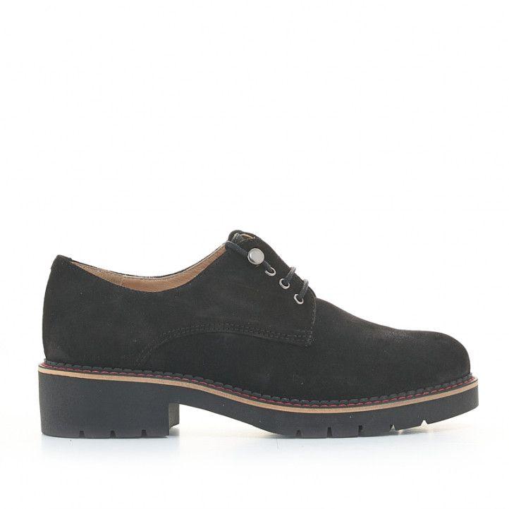 Zapatos planos Redlove negros de ante con cordones - Querol online