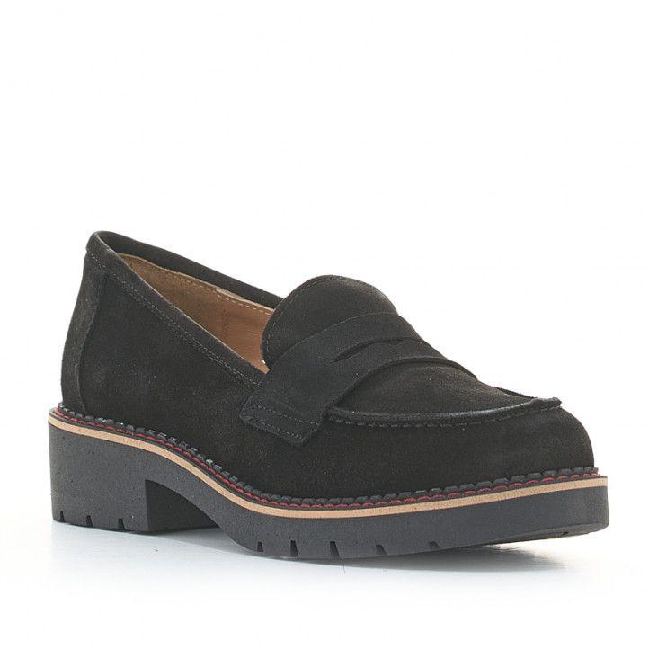 Zapatos planos Redlove negros de ante tipo mocasín - Querol online