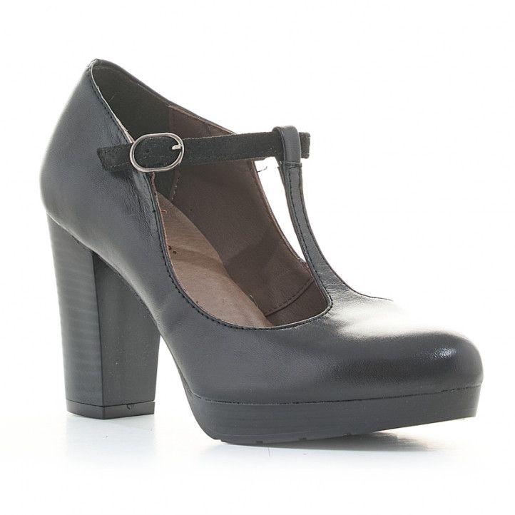 Zapatos tacón Redlove de piel negros con cierre - Querol online