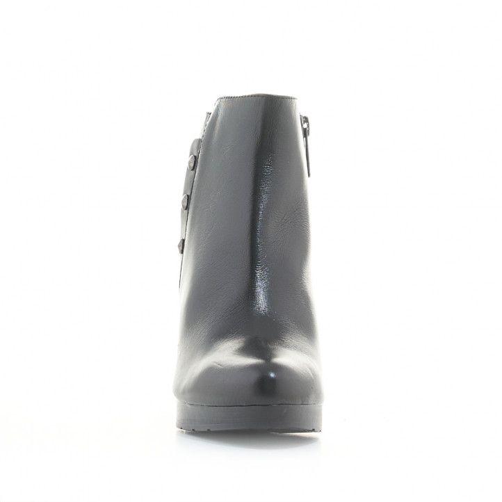 Botines tacón Redlove de piel negros con 3 tachuelas en el lateral - Querol online