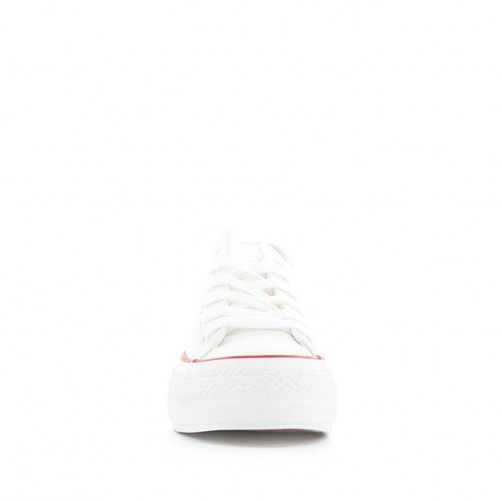 Zapatillas lona Owel blancas de plataforma bajas con cordones - Querol online