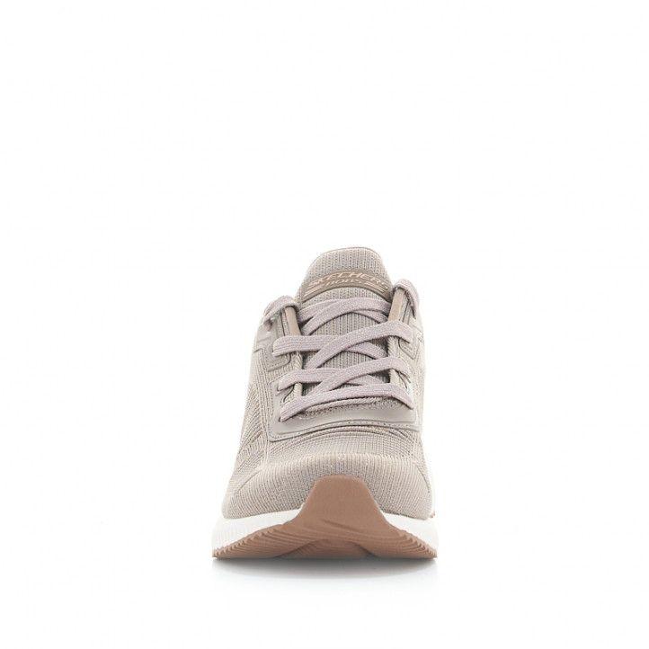 Zapatillas deportivas Skechers marrones con detalles purpurina - Querol online