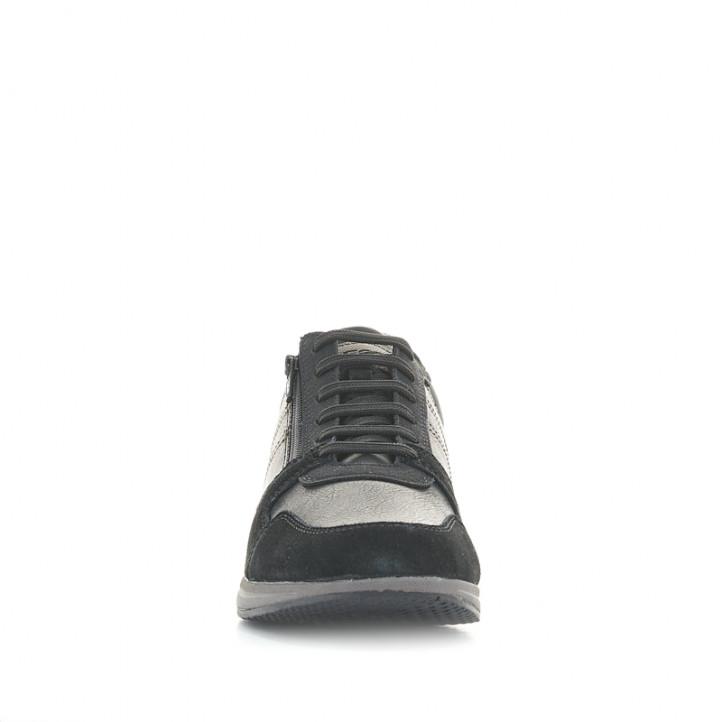 Zapatos sport Geox de piel negras con cordones y cremallera lateral - Querol online