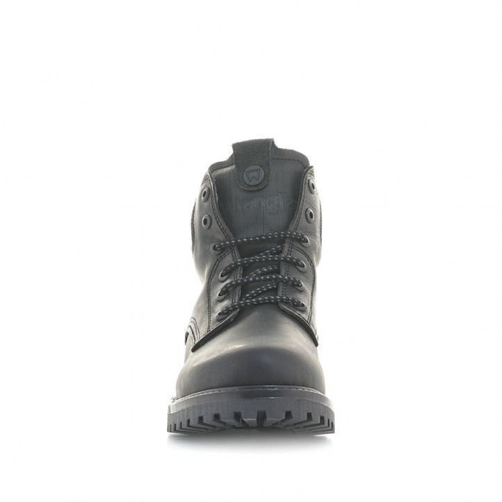 Botines Wrangler de piel negros con cordones y suela de goma - Querol online