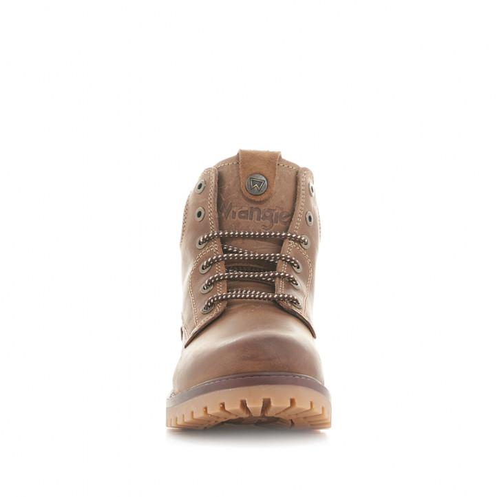 Botines Wrangler de piel marrón oscuro con cordones y suela de goma - Querol online