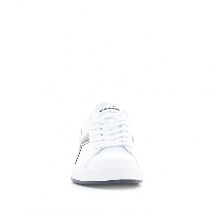 Zapatillas deportivas Diadora game p blancas con franja azul - Querol online