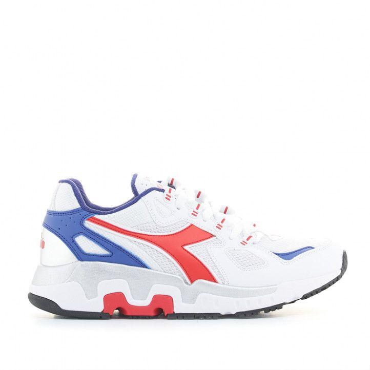 Zapatillas deportivas Diadora mythos blancas con detalles azules y rojos - Querol online