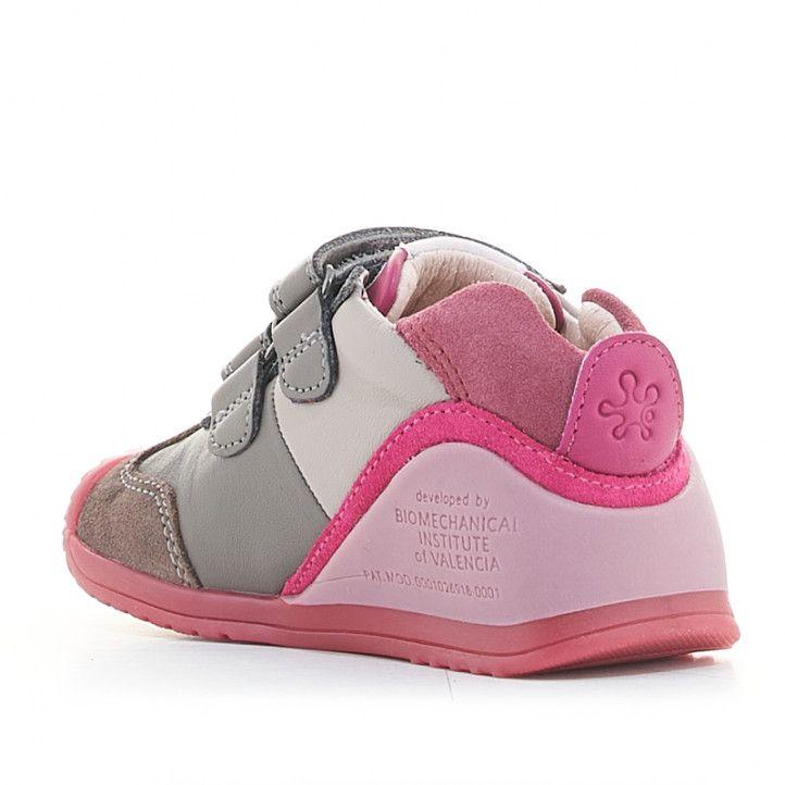 Zapatillas deporte Biomecanics de piel grises y rosas con doble velcro - Querol online