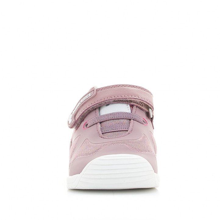 Zapatillas deporte Biomecanics rosas de piel y malla con cordones y velcro - Querol online