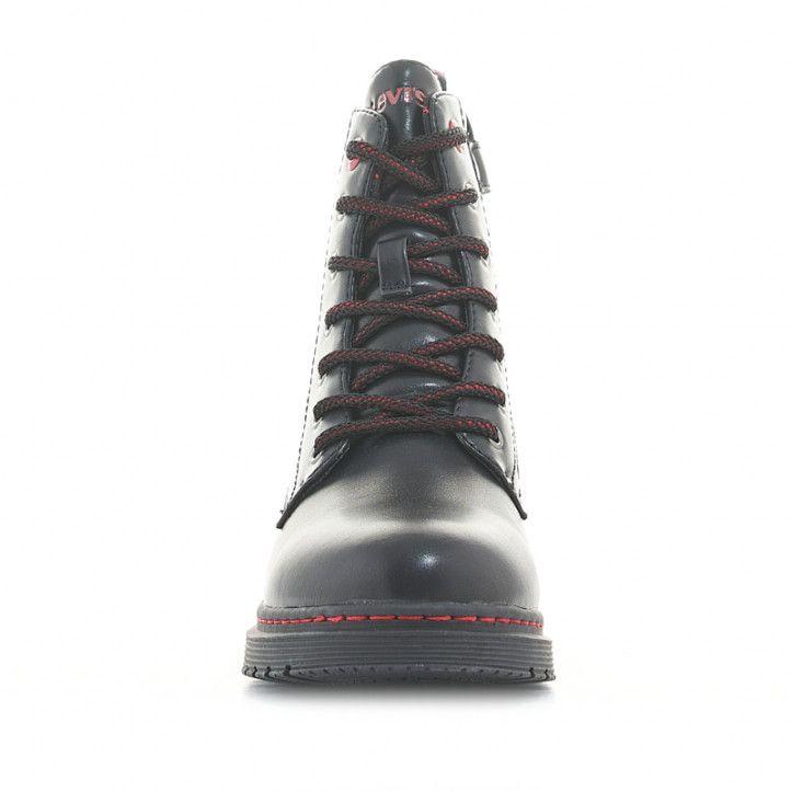 Botines LEVIS KIDS negras con detalles en rojo y suela de goma - Querol online