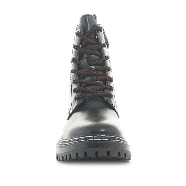 Botines LEVIS KIDS negras de cordones con suela de goma y cremallera lateral - Querol online