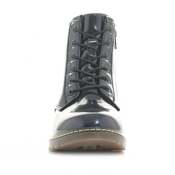 Botins K-TINNI negres de xarol amb cordons i cremallera lateral - Querol online