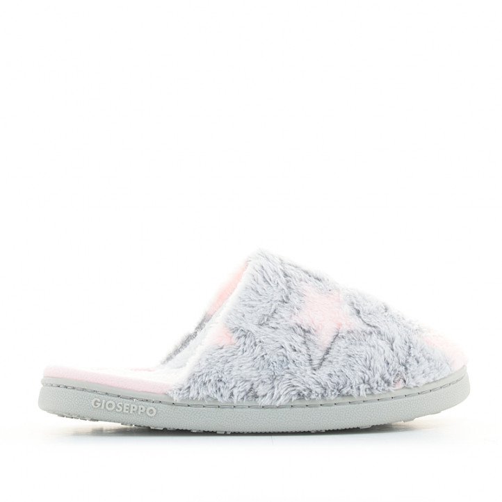 Zapatillas casa Gioseppo grises y rosas con estampado de estrellas - Querol online
