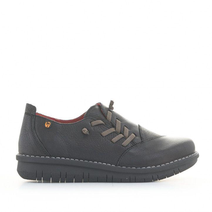 Zapatos cuña Jungla negros de piel con cierre lateral elástico - Querol online