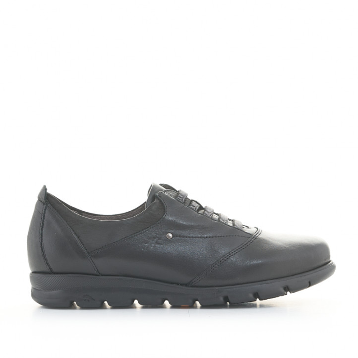 Zapatos planos Fluchos de piel negros con cordones elásticos - Querol online