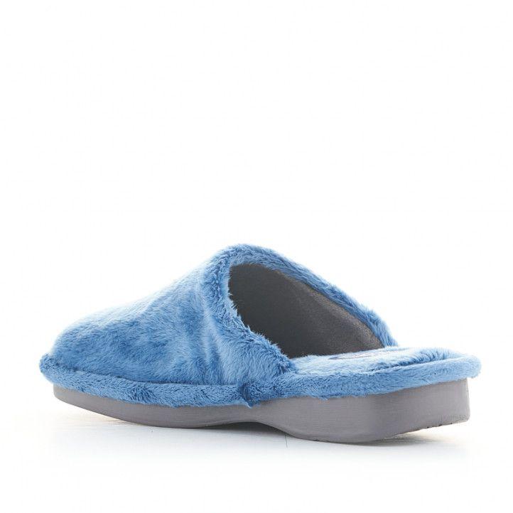 Zapatillas casa Laro azules de pelo - Querol online