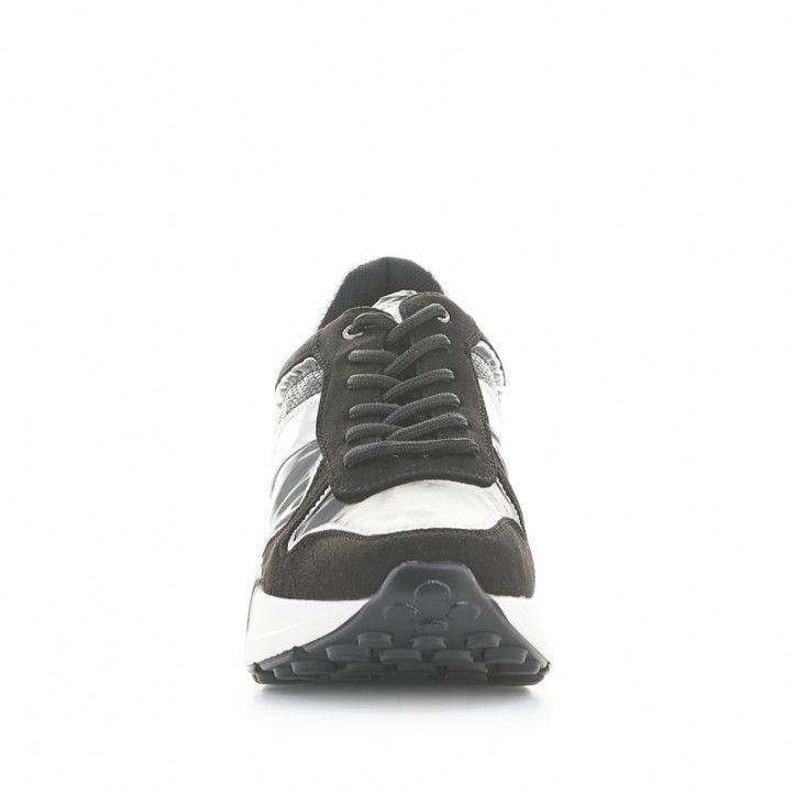 Sabatilles esportives POP CORN negres i blanques de diferents textures - Querol online