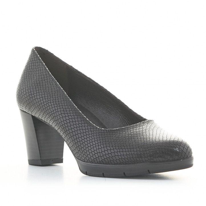 Zapatos tacón Redlove zora negros de piel con estampado serpiente - Querol online