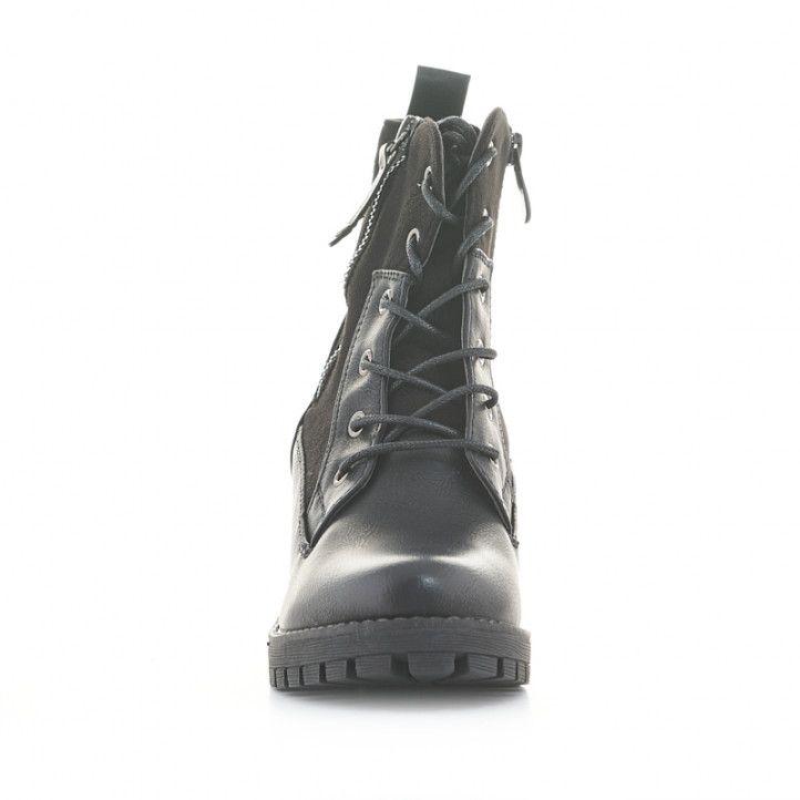 Botines tacón Owel ankara negros de dos tejidos con cordones - Querol online