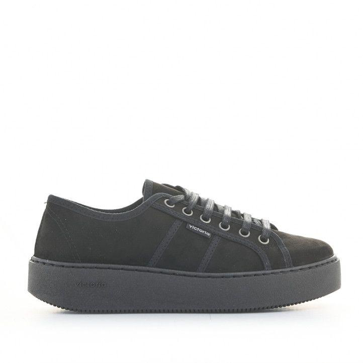 Zapatillas deportivas Victoria negras con plataforma y cordones - Querol online