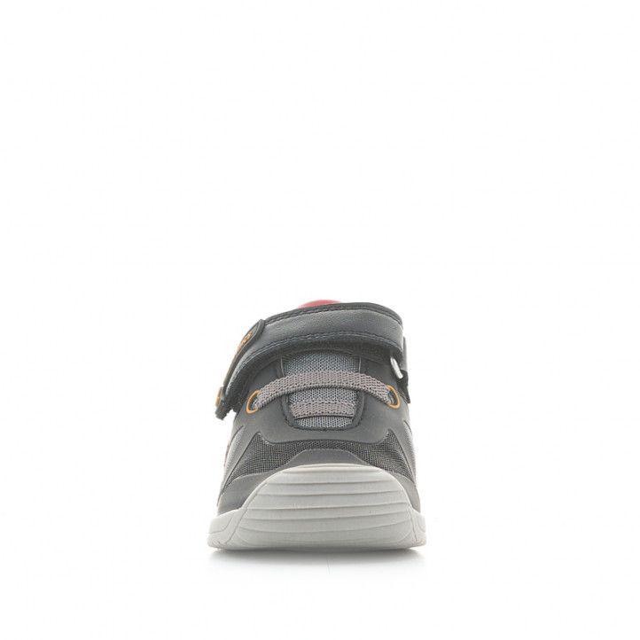 Zapatillas deporte Biomecanics grises y negras con cordones elásticos y velcro - Querol online