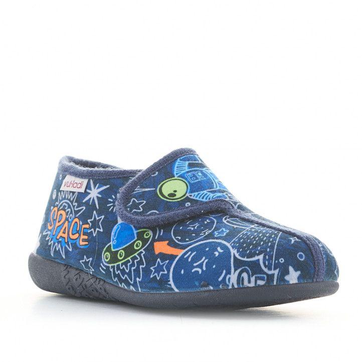 Zapatillas casa Vul·ladi azules con estampado del espacio y velcro - Querol online