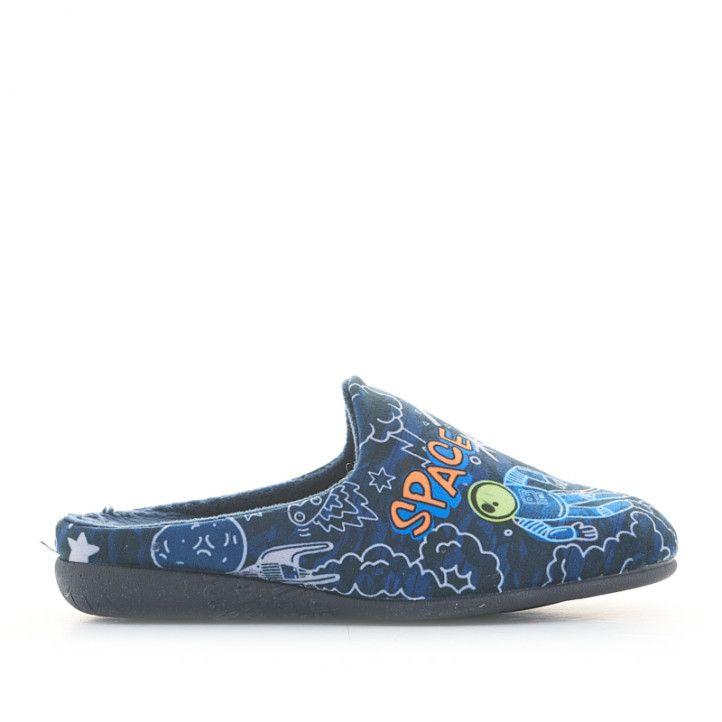 Zapatillas casa Vul·ladi azules con estampado espacial - Querol online