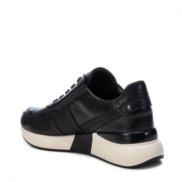 Zapatillas deportivas Carmela negras de piel con plataforma y animal print - Querol online