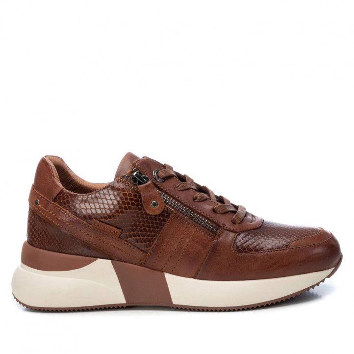 Zapatillas deportivas Carmela marrones de piel con plataforma y animal print - Querol online
