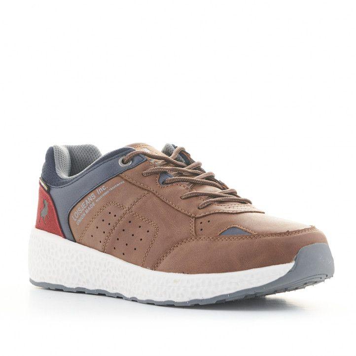 Zapatillas deportivas Lois marrones, azules y rojas - Querol online
