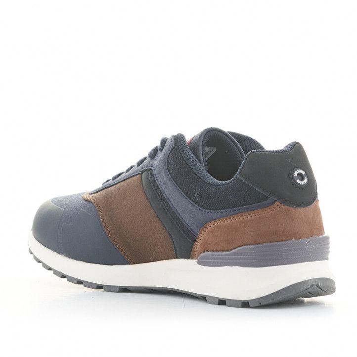 Zapatillas deportivas Lois azules con detalles marrones y cordones - Querol online