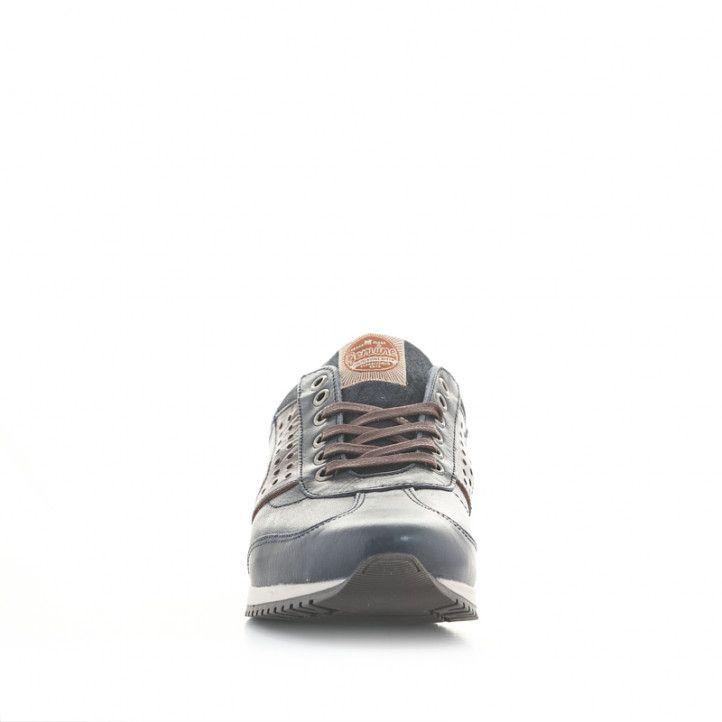 Zapatos sport Lobo everest azules de piel con detalles en marrón y rojo - Querol online