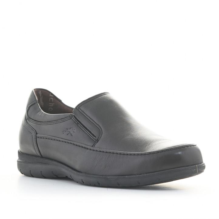 Zapatos sport Fluchos tipo mocasín negros de piel - Querol online