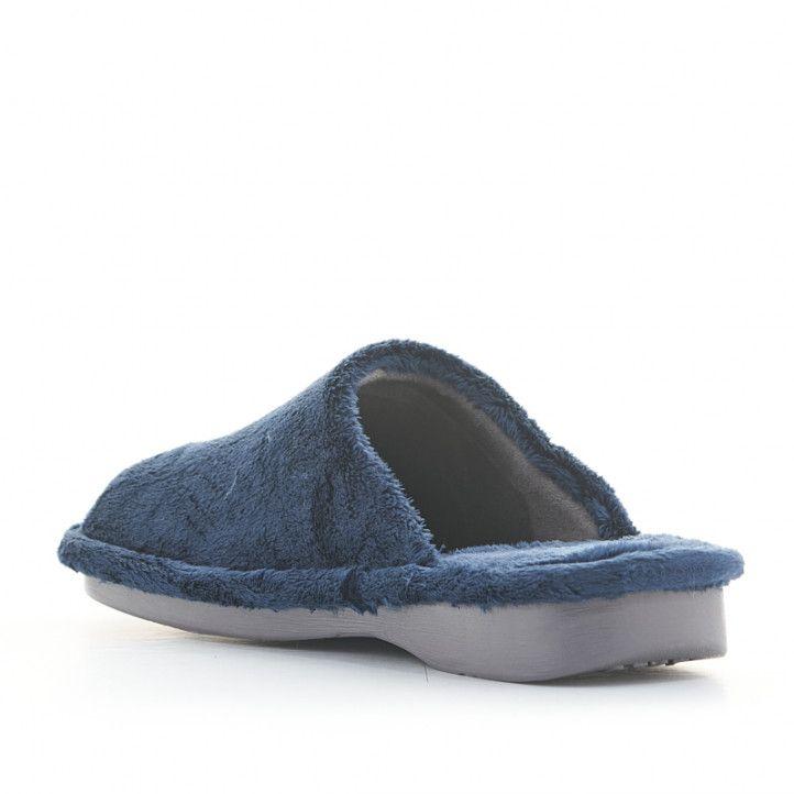 Zapatillas casa Laro azul marino de pelo - Querol online