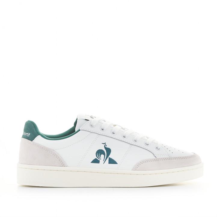 Zapatillas deportivas Le Coq Sportif court net blancas y verdes de piel - Querol online