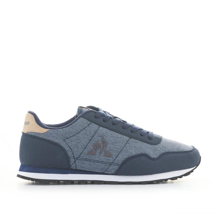 Zapatillas deportivas Le Coq Sportif azules con estampado tejano y detalles marrones - Querol online