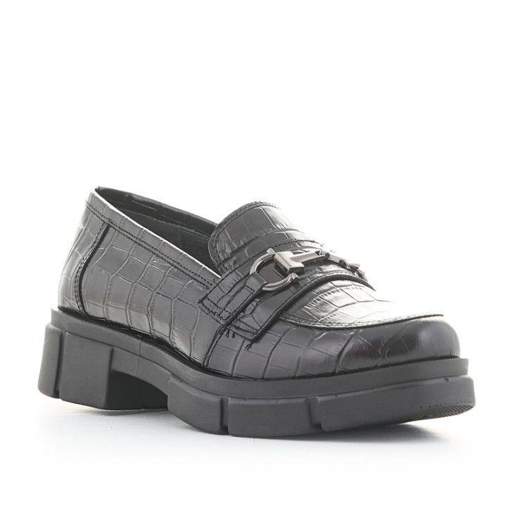 Zapatos tacón Redlove andrea de piel negros con suela track y estampado cocodrilo - Querol online