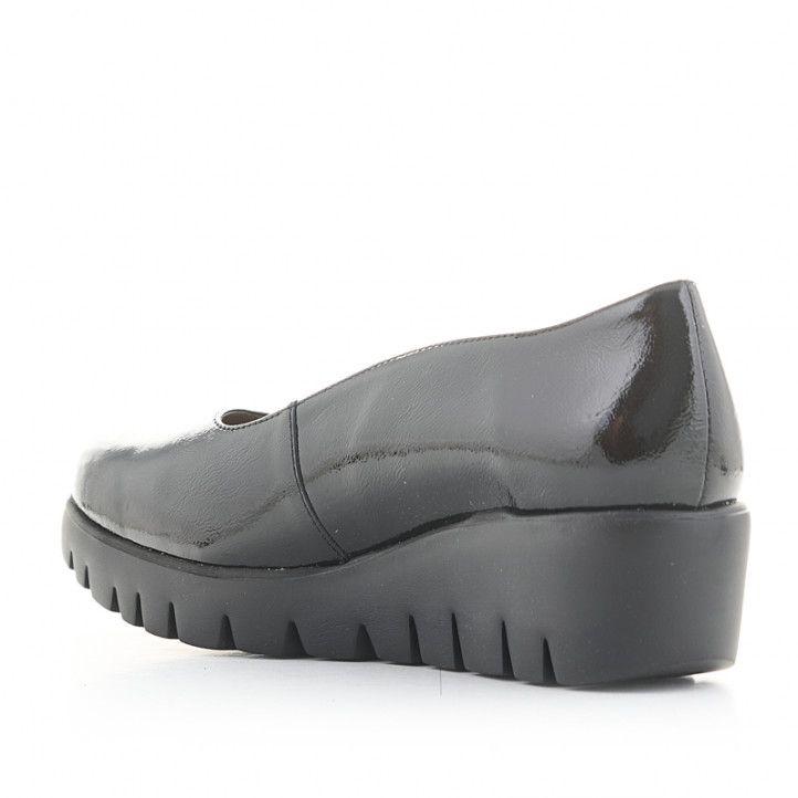Zapatos cuña Wonders piel negros de charol - Querol online