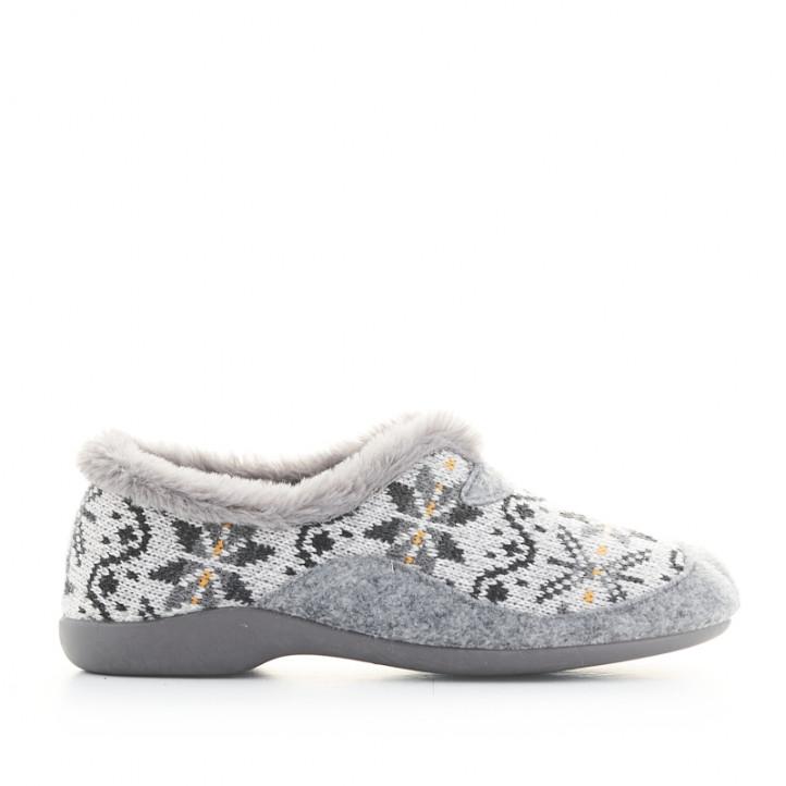 Zapatillas casa Garzon grises cerradas con pelo interior - Querol online