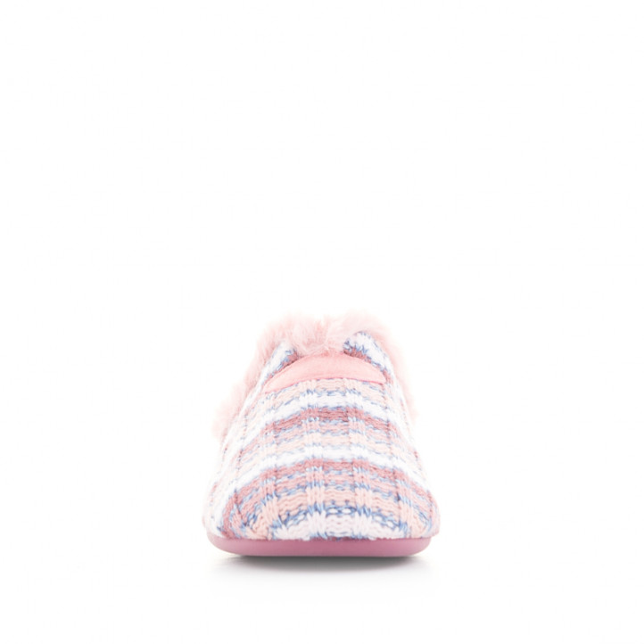 Zapatillas casa Garzon de rayas rosas y azules - Querol online