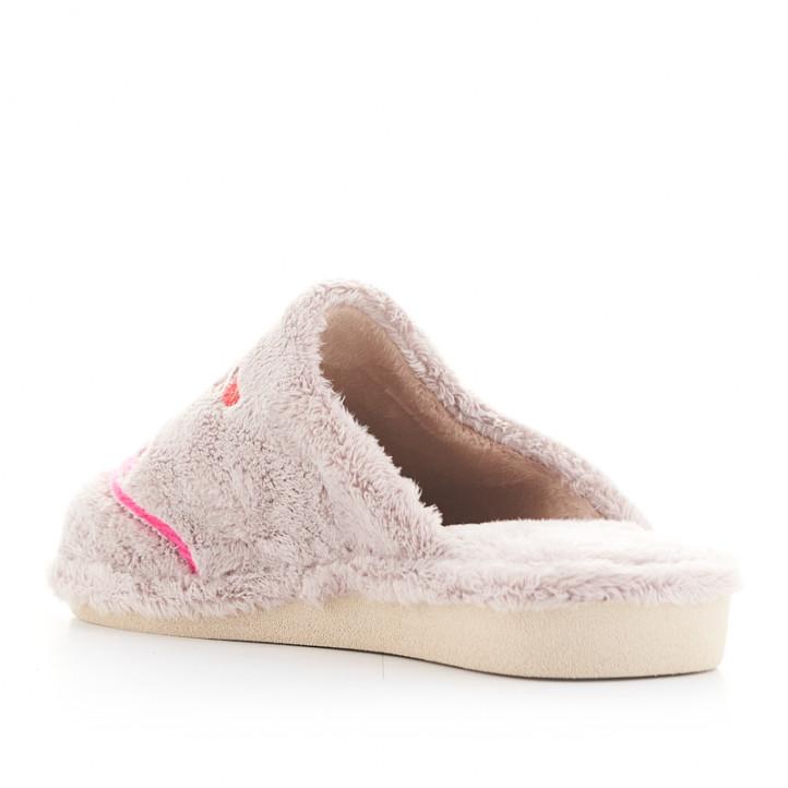 Zapatillas casa Garzon grises y rosas con dibujo de ratoncito - Querol online