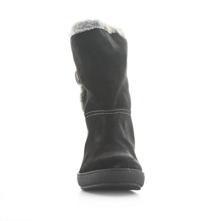 Botas planas Alpe negras de piel con pelo interior y botón lateral - Querol online
