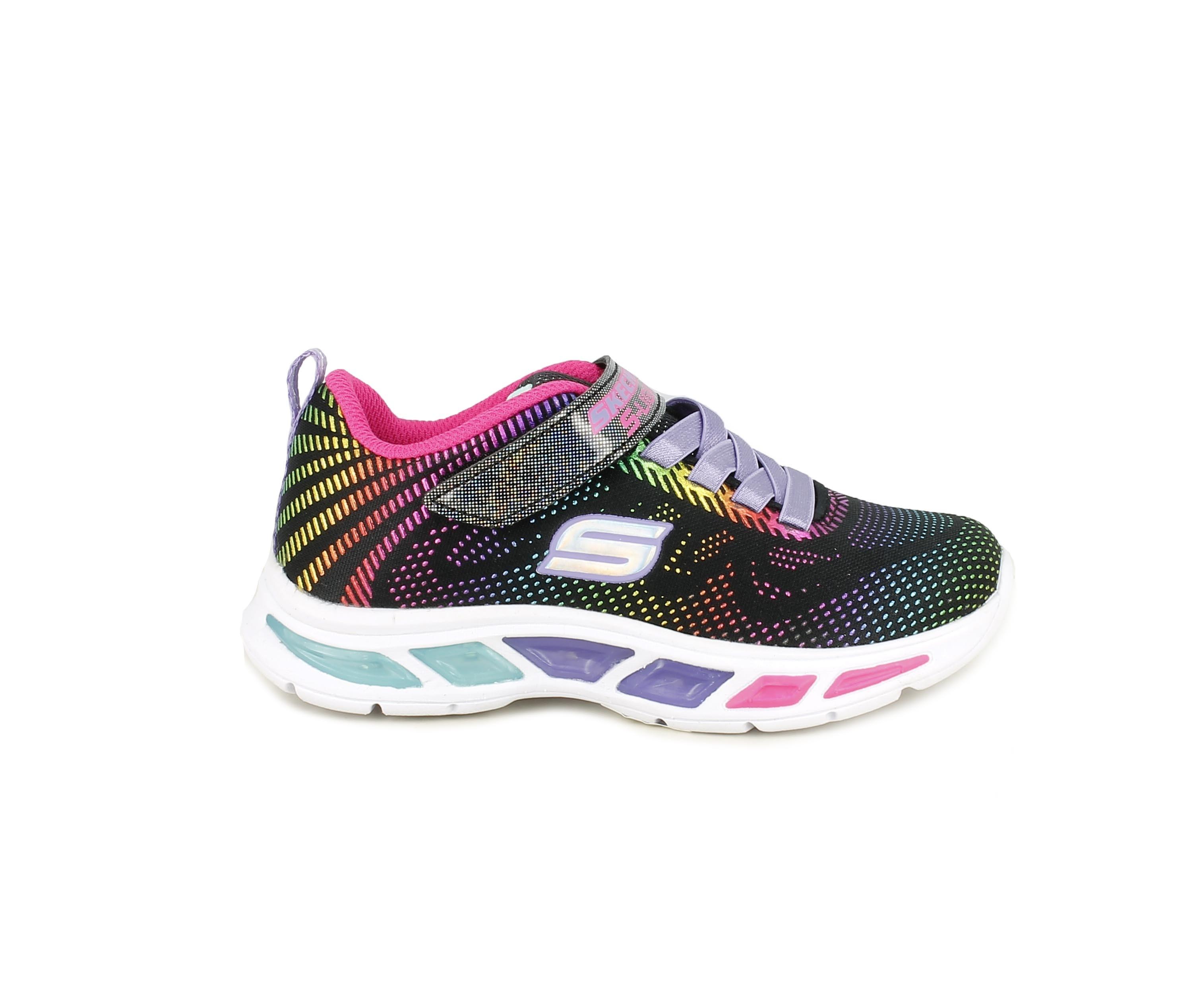 Zapatillas deporte Skechers negras con colores brillantes cordones elásticos y luz en la suela